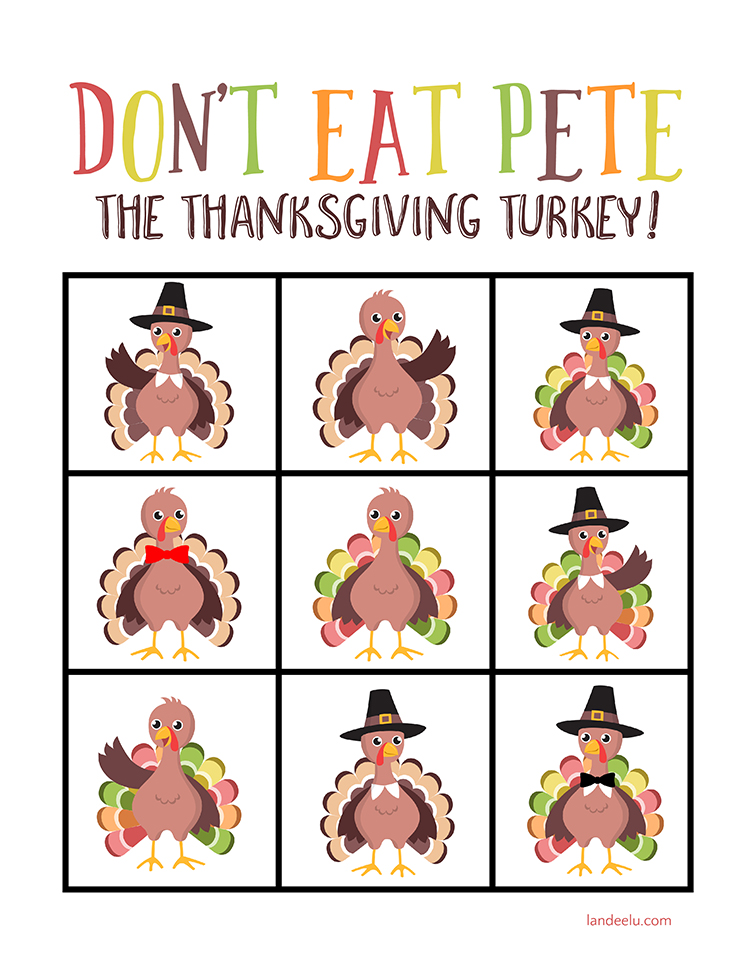 picture regarding Don T Eat Pete Printable identified as Dont Consume Pete Thanksgiving Sport -