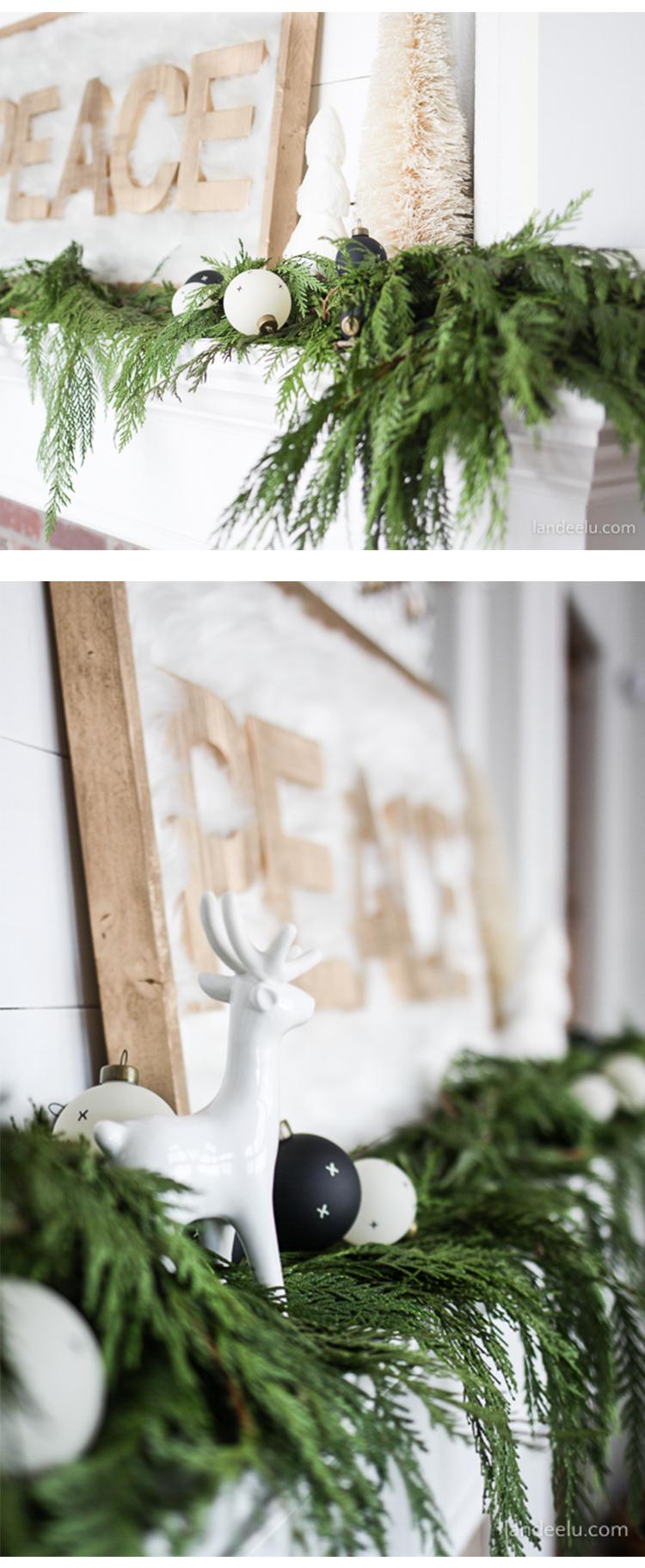 Christmas Mantel with Fresh Christmas Garland - landeelu.com