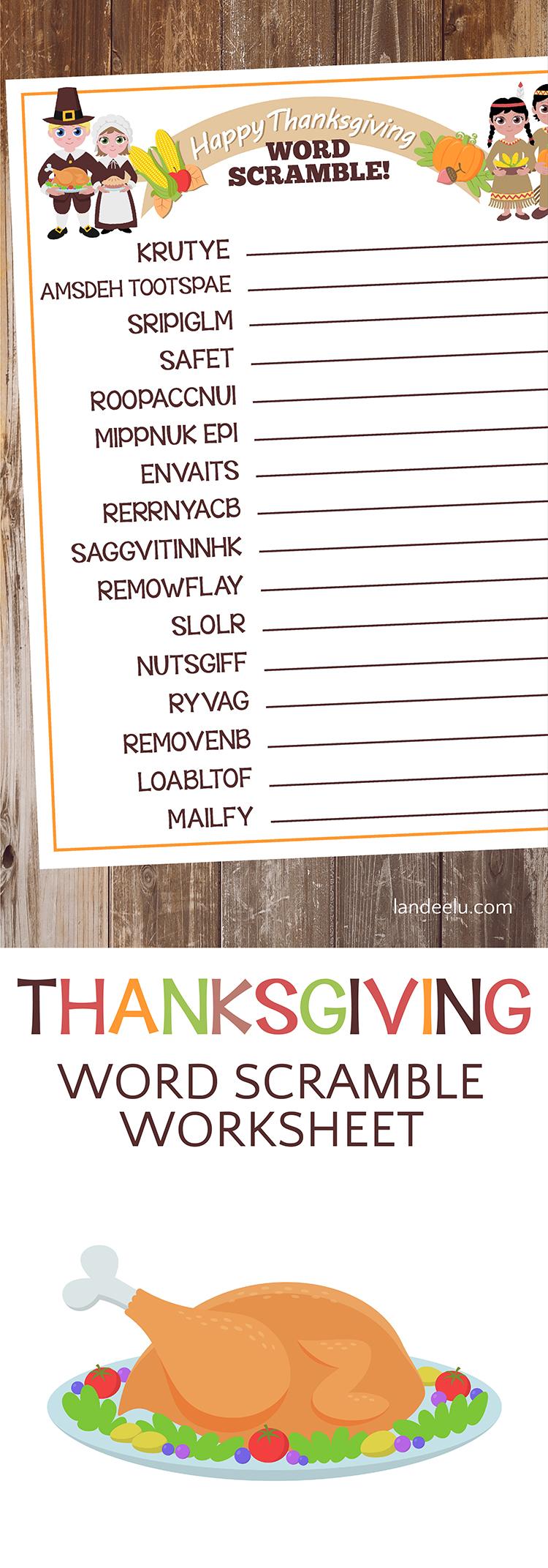 Thanksgiving Worksheet: Word Scramble! - landeelu.com