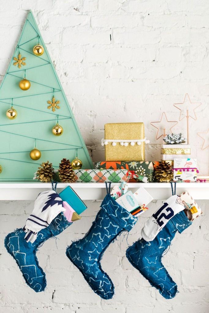 DIY Batik Indigo Christmas Stockings Tutorial   Brit + Co