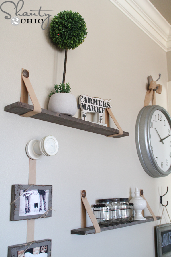 DIY $5 Shelves with Leather Straps | Shanty 2 Chic