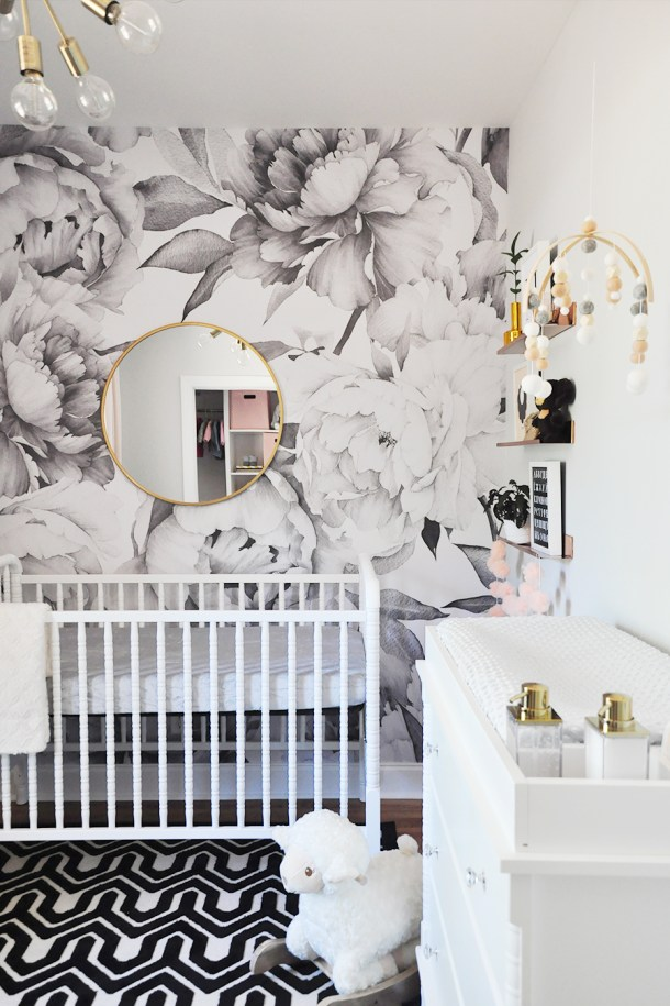Large Peony Wall Paper {The Sweetest Nursery Reveal} | Foxy Oxie