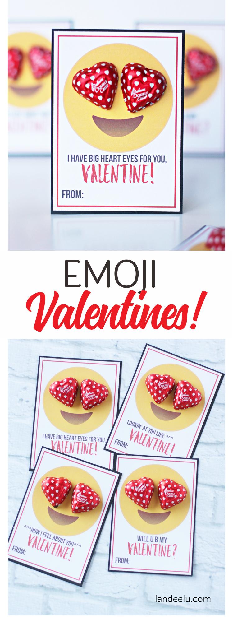 Emoji Printable Valentines - All the HEART EYES for these cute Emoji Printable Valentines! #valentinesday #valentineidea #easyvalentine #printablevalentine #freevalentine