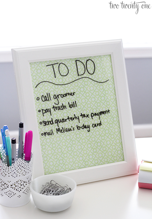 DIY Dry Erase To-Do List | Two Twenty One