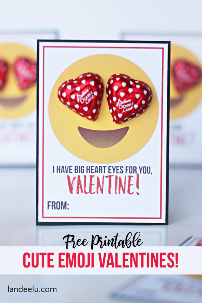 Emoji Printable Valentines - All the HEART EYES for these cute Emoji Printable Valentines! #valentinesday #valentineidea #easyvalentine #printablevalentine #freevalentine