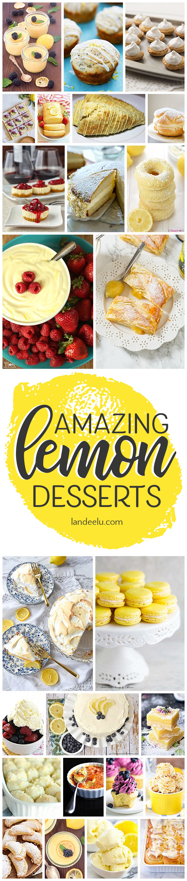 These lemon desserts look so yummy! Can't wait to try the lemon scones! #lemondesserts #lemon #lemonbars #lemoncake