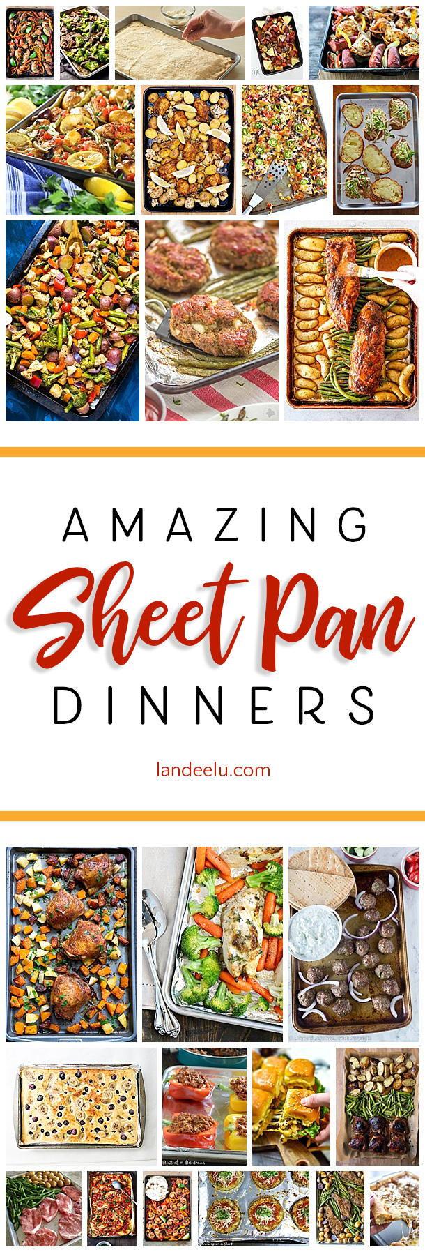 Looking for easy dinner ideas? Check out these awesome sheetpan dinners! Throw some veggies and some protein on a cookie sheet and enjoy! #sheetpandinners #sheetpansuppers #easydinnerideas #quickdinnerideas #healthydinnerideas #dinner #sheetpanrecipes