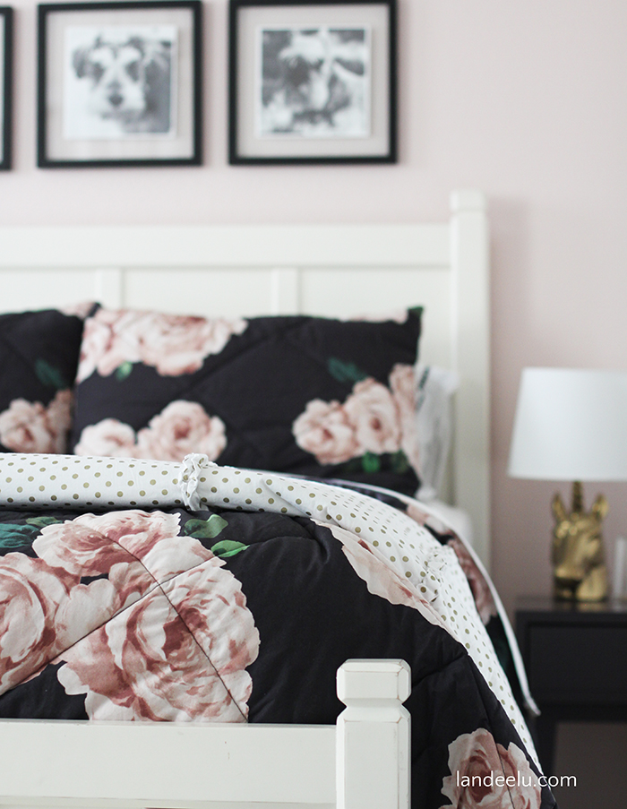 Beautiful DIY wall decor using paper and a blank canvas for this darling tween girl's bedroom!