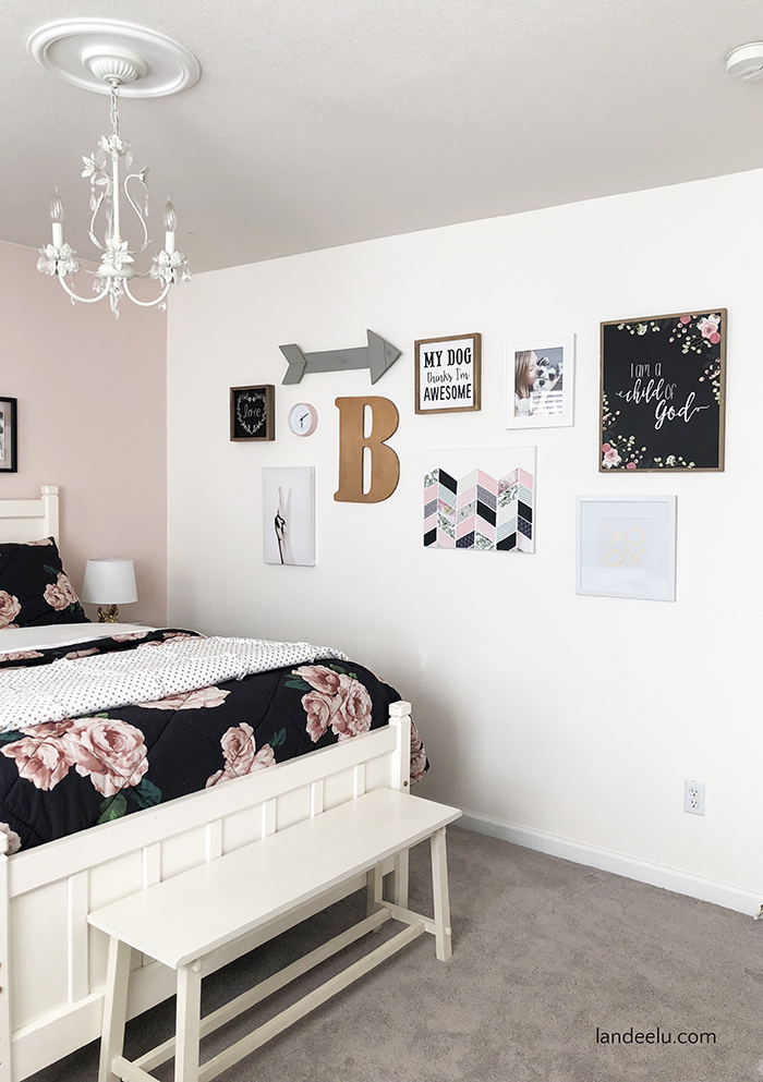 Adorable gallery wall for a tween girl bedroom! DIY wall decor is inexpensive and so fun to make using decorative papers, mod podge and a blank canvas!