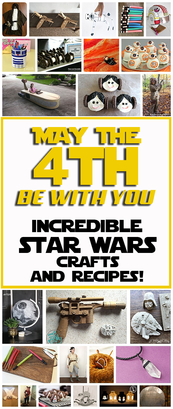 Amazing Star Wars crafts and recipes to celebrate May the 4th or for any Star Wars party! #maythe4th #maythefourth #birthdaypartytheme #starwarsparty #starwarscrafts #starwarsrecipes #partytheme #scifiparty
