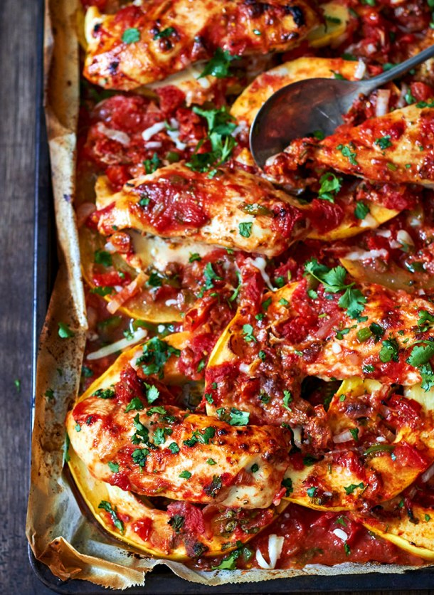Sheet Pan Salsa Chicken with Spaghetti Squash | Eat Well 101