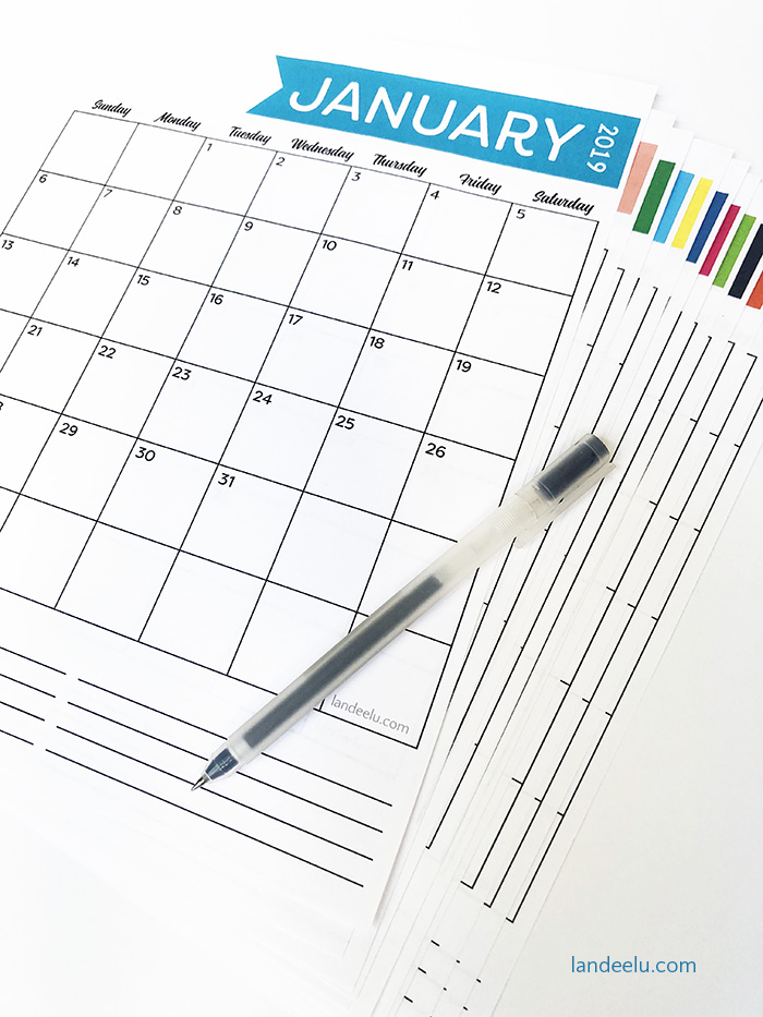 A cute and colorful 2019 printable calendar for you to get organized! Free and ready to download now! #calendar #printablecalendar #freecalendar #2019calendar #organization