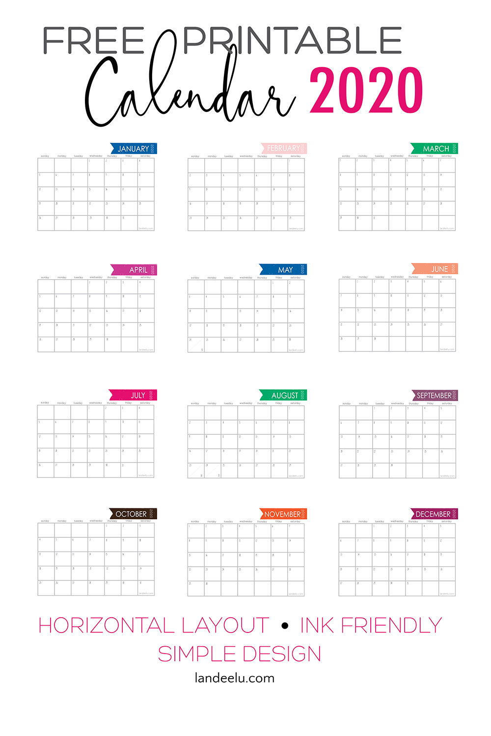 Free Printable Calendar for 2020! Ink friendly simple design gives you plenty of room to write! #printablecalendar #freecalendar #2020calendar #organization #freeprintable