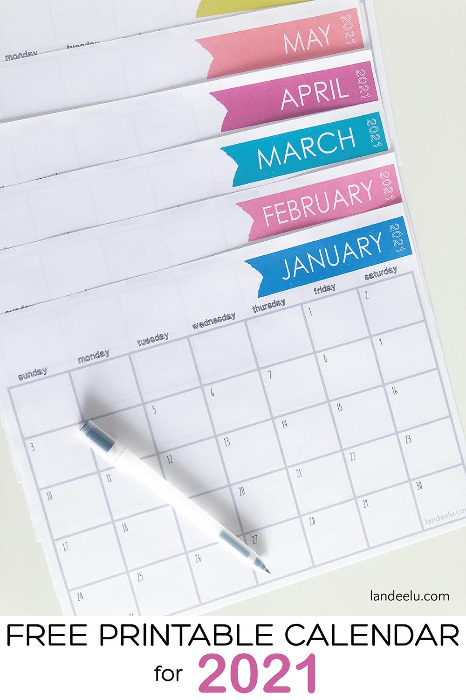 2021 Free Printable Calendar for all your organizing needs! #2021calendar #freecalendar #freeprintablecalendar #organizingprintable