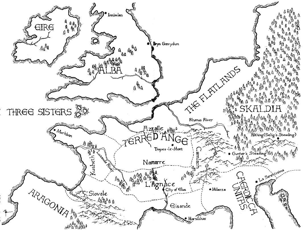 Mappa il Dardo e la Rosa di Jacqueline Carey - Lande Incantate