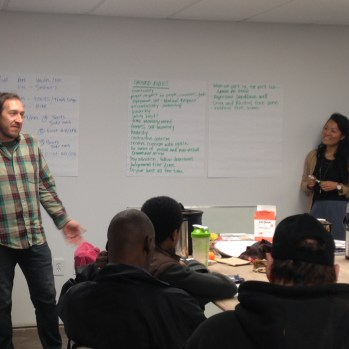 Tiffany and Thomas talking about goal setting -- at work and in life -- with the Landforce crews.