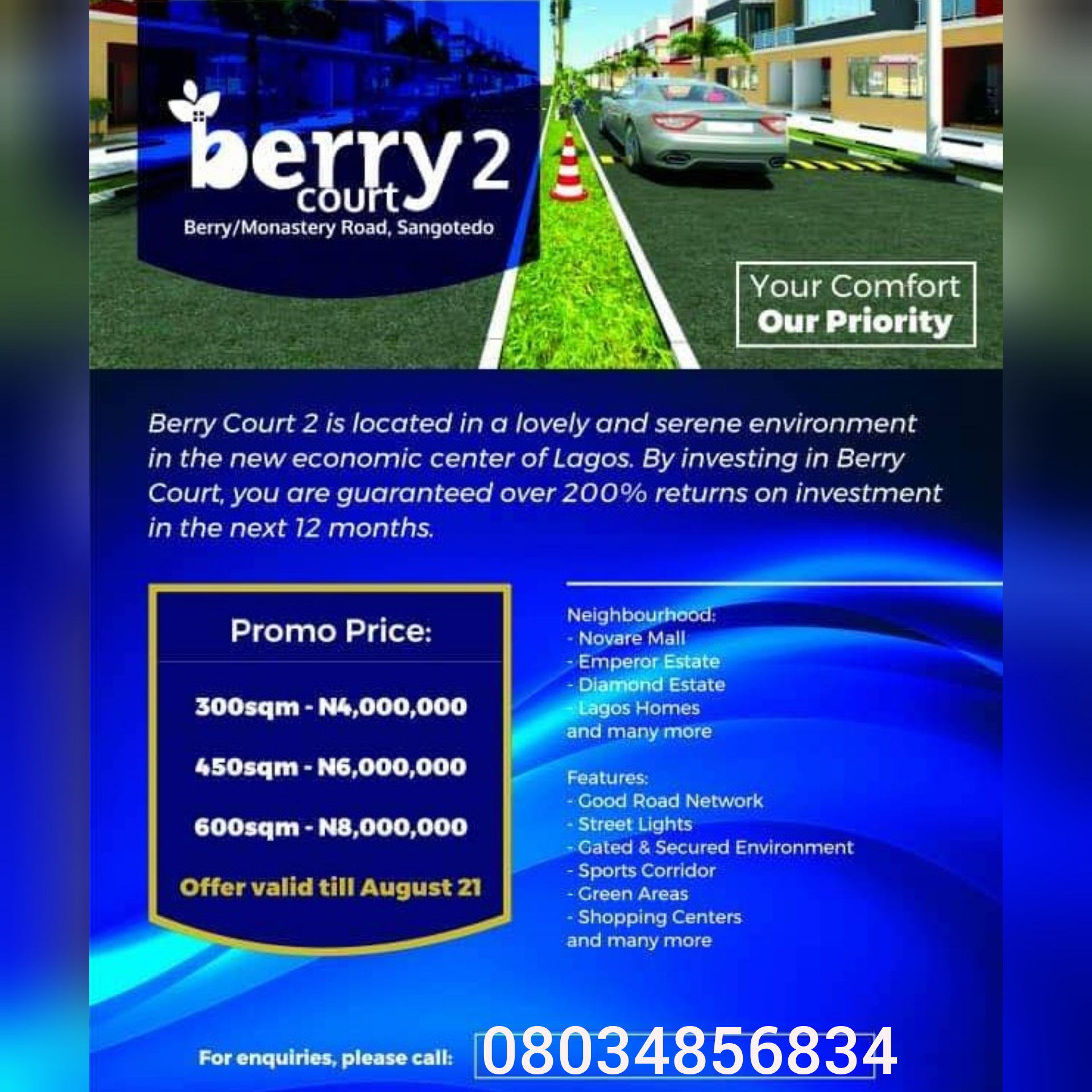Berry Courts Estate II Land Measuring 600sqm, Monastery Road
