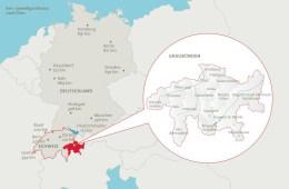 Karte: Schweiz & Graubünden im Vergleich zu Deutschland © www.graubuenden.ch