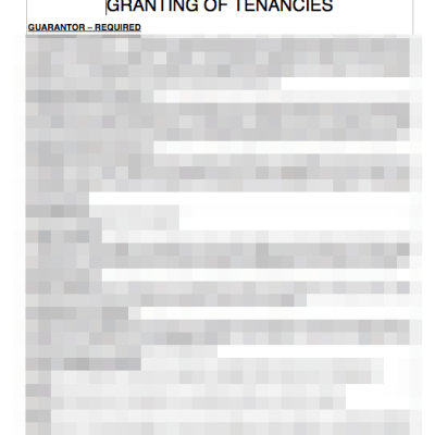 Granting of tenancies sheet for tenants