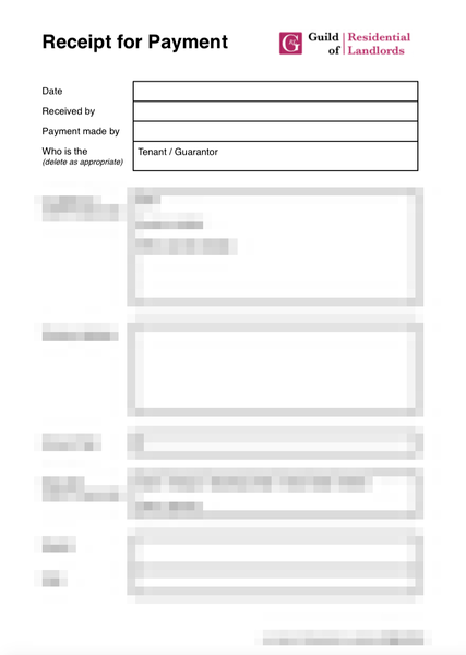 Receipt for Payment from Tenant – Receipt for Payment