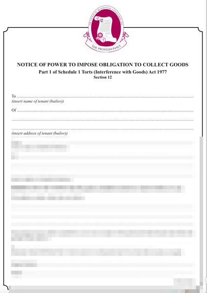 Notice for tenant to collect possessions left at property