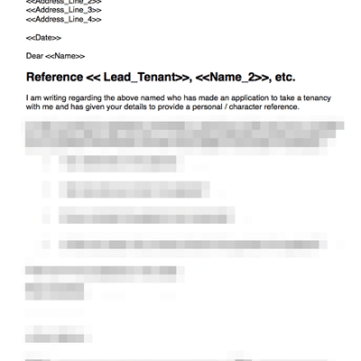 Personal character reference for prospective tenant template