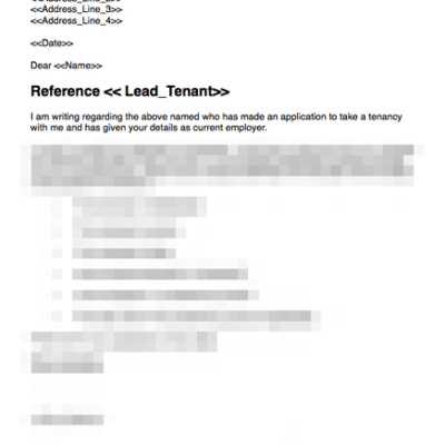 Employer reference template for prospective tenant
