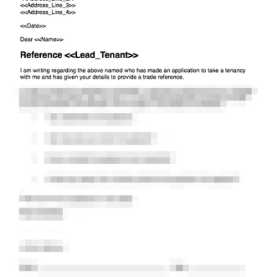 Trade reference template for prospective tenant