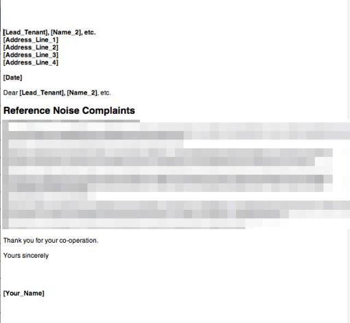 Tenant noise complaint letter 1