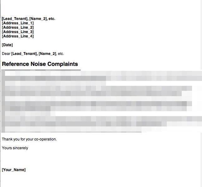 Anti social behaviour noise complaint letter 1 grl for Complaint letter to landlord template