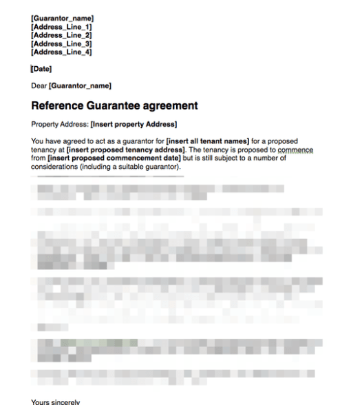 Guarantor to sign agreement covering letter
