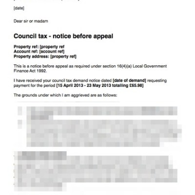 Council tax letter before appeal