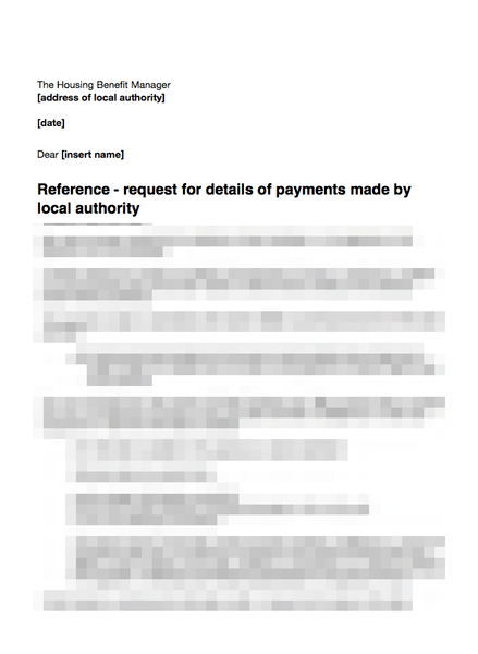 Local authority request details of payments made to tenant