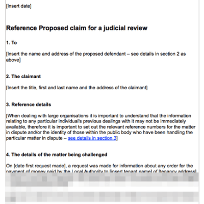 Judicial review requesting details of housing benefit payments