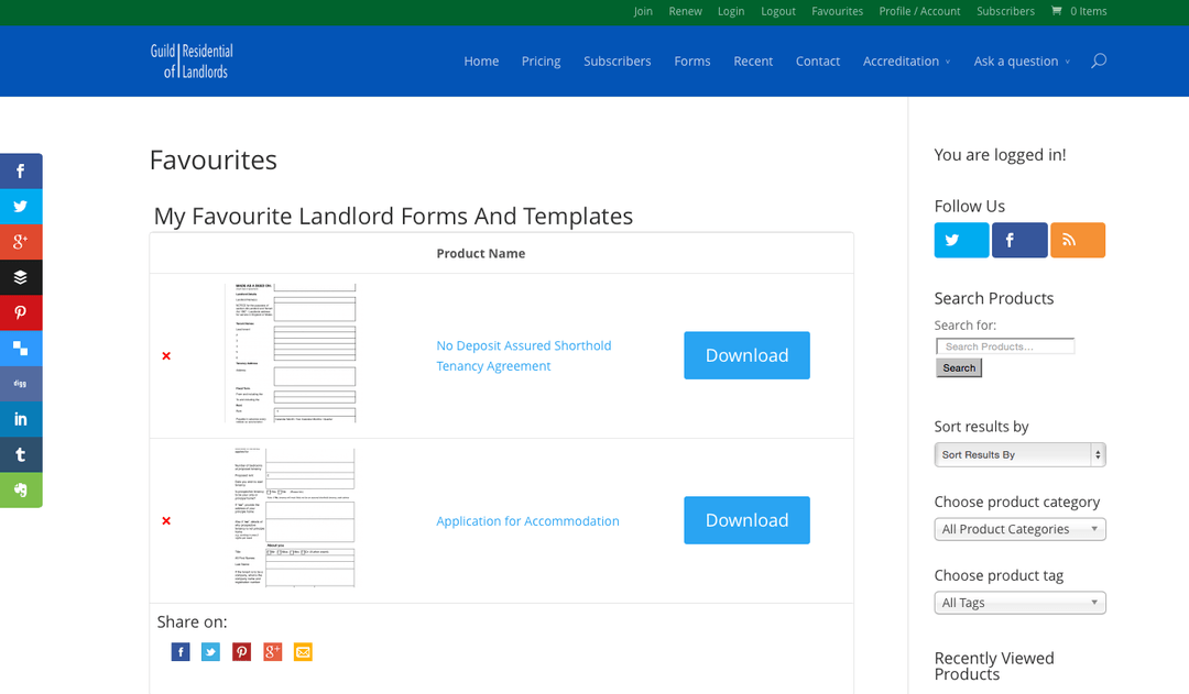 screenshot of favourites list - landlord templates
