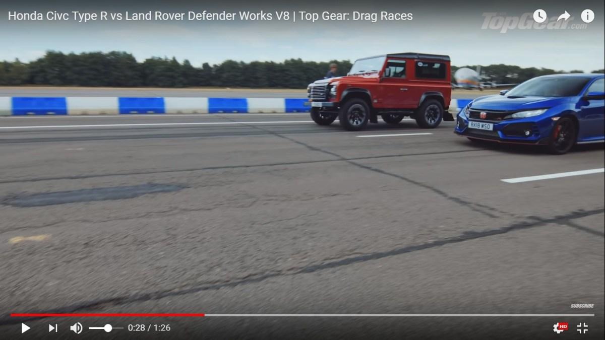 Vidéo: Defender Works V8 vs. Honda Civic Type R !!