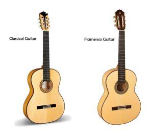 Classic compared to flamenco guitar
