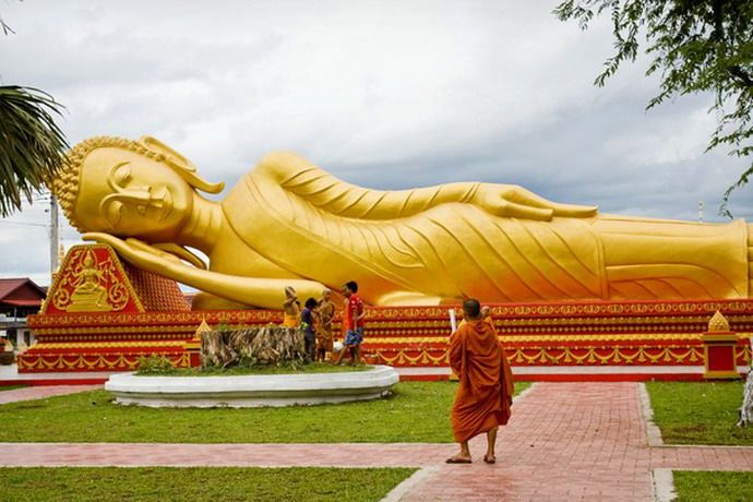 A monument depicting a reclining Lord Buddha