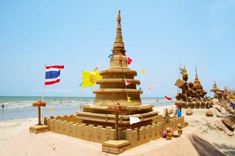 Sand castles built along the Mekong River