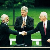 Hussein Clinton Rabin at Israel Jordan peace accord
