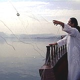 Cast net fishing at the Sea of Galilee