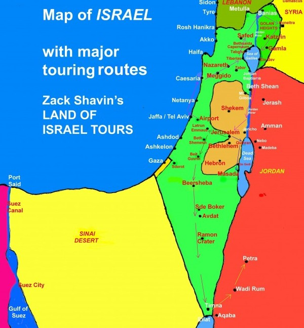Map of Israel showing general touring routes