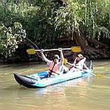 Kayak and raft on the Jordan
