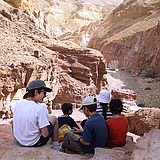 Hiking in colorful Red Canyon near Eilat, Israel