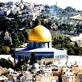 Dome of Rock mosque in Jerusalem built over site of Second Temple on Mount Moriah in Jerusalem