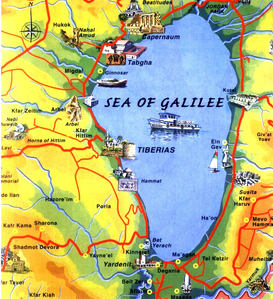 Map of Sea of Galilee touring routes