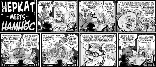 """""""hepkat meets hamhoc"""" cartoon by Brent Brownå"""