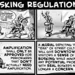 """New Busking Reg Prop"" cartoon by Brent Brown"