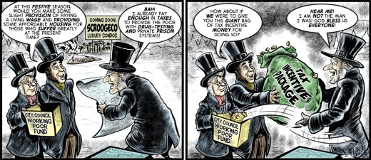 """""""Tax Incentive Scrooge"""" cartoon by Brent Brown"""