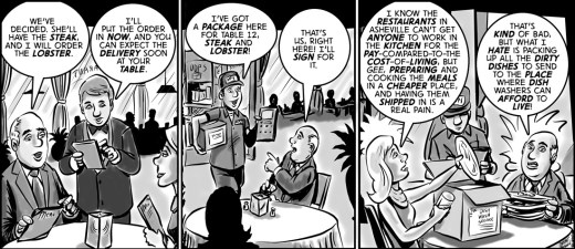 """""""Farmed out to table"""" cartoon by Brent Brown"""